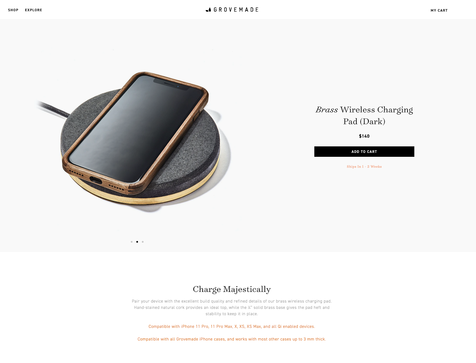 Product page for a wireless charging pad on the Grovemade website