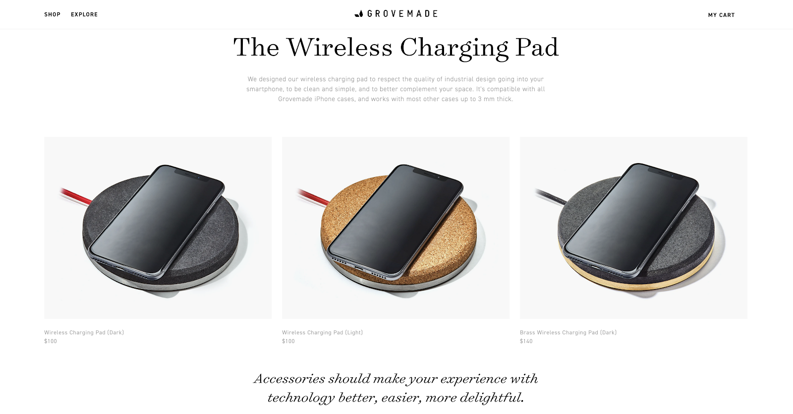 Product page on the Grovemade website