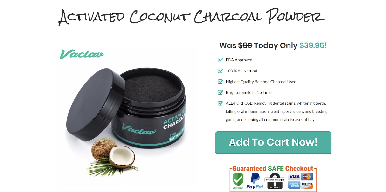 Sales page for activated charcoal powder