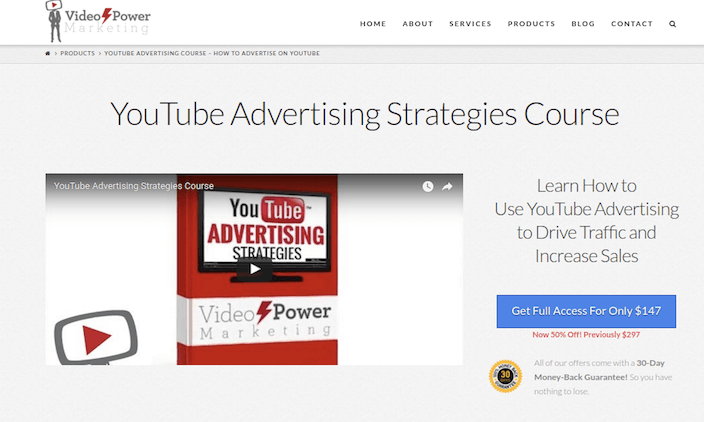 Sales page for Youtube advertising course