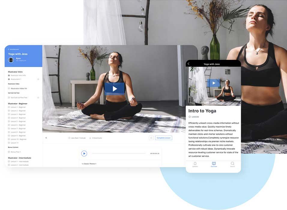 Desktop and mobile yoga class sales page built in Kajabi