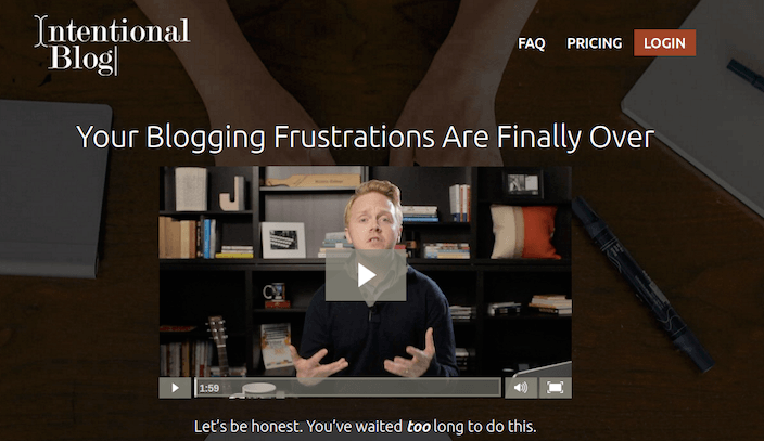 Example of the Intentional Blog webpage with just one video about blogging frustrations