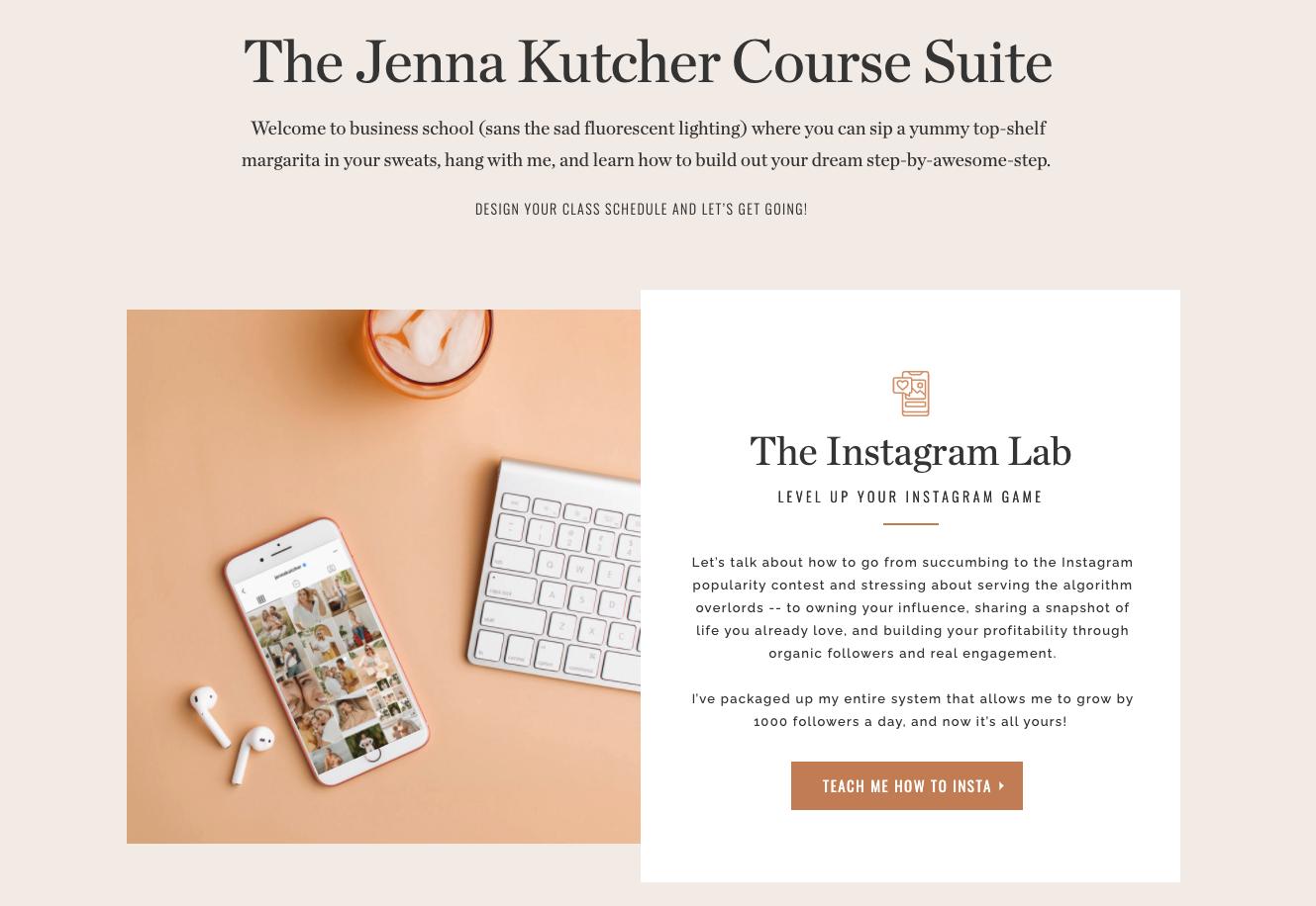 Screenshot of The Jenna Kutcher website