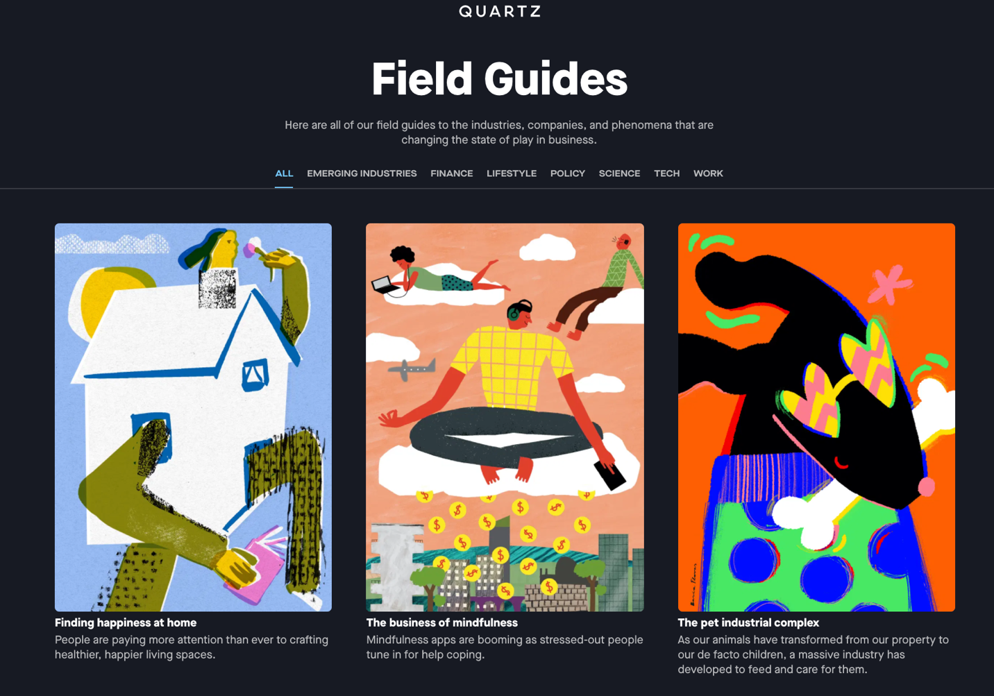 Quartz Field Guides page showing three niche topics that lead to multiple content pieces