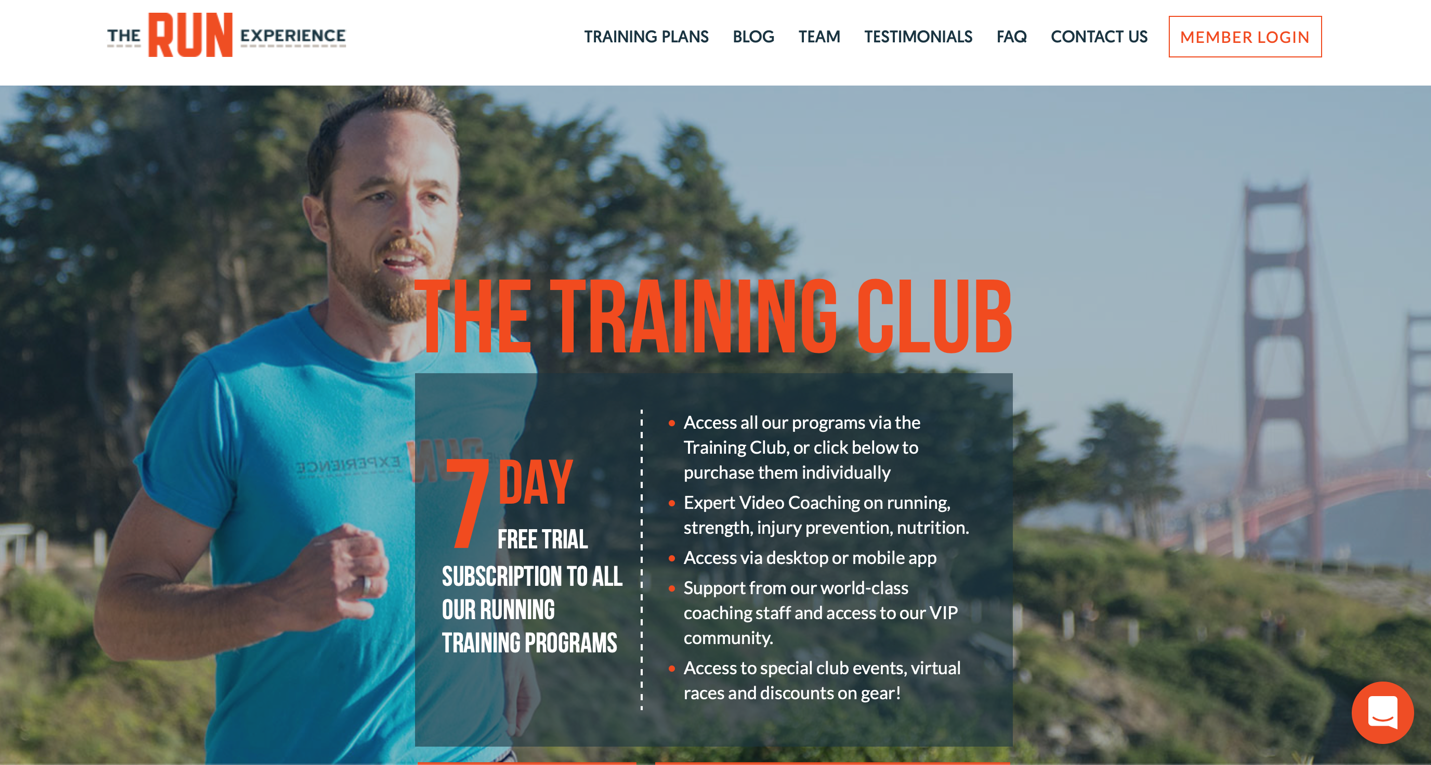 View of The Run Experience's training page offering 7-day trial, featuring male coach running with Golden Gate Bridge in the background