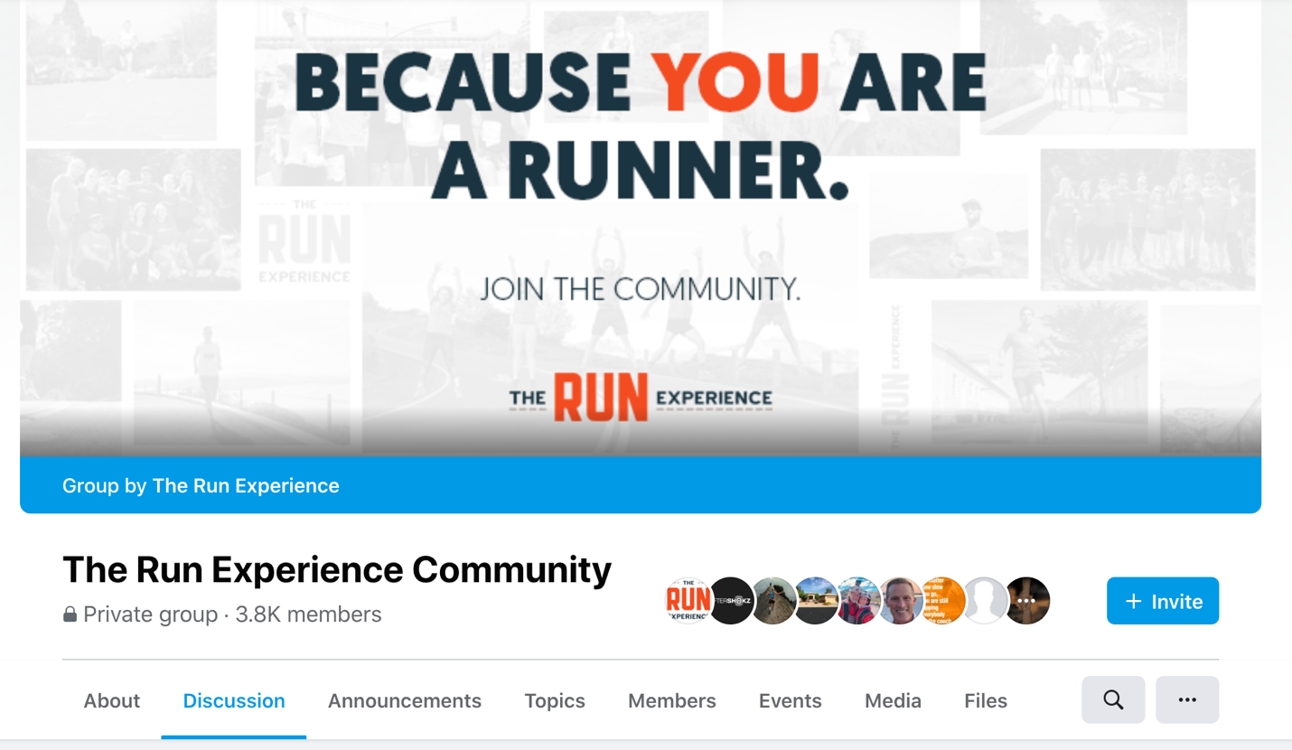 Image of The Run Experience Community members-only Facebook page