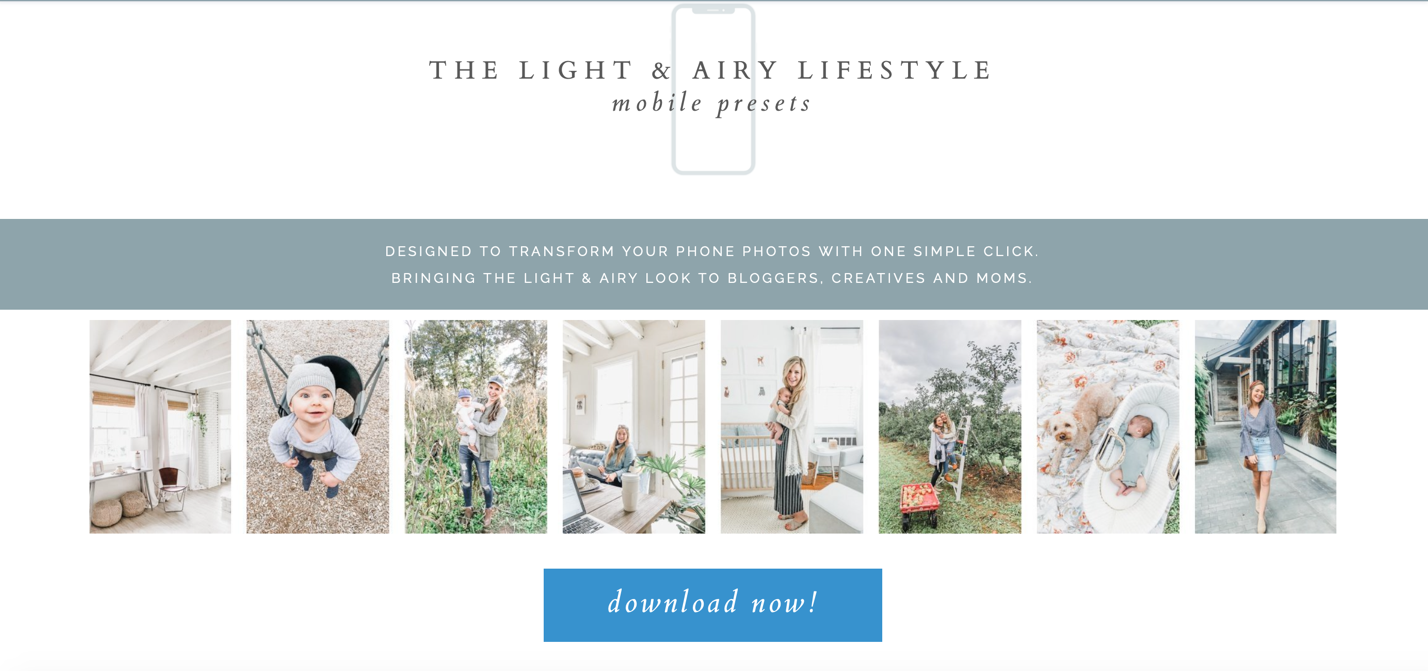 Image of Light & Airy mobile preset page with examples of photos with presets applied