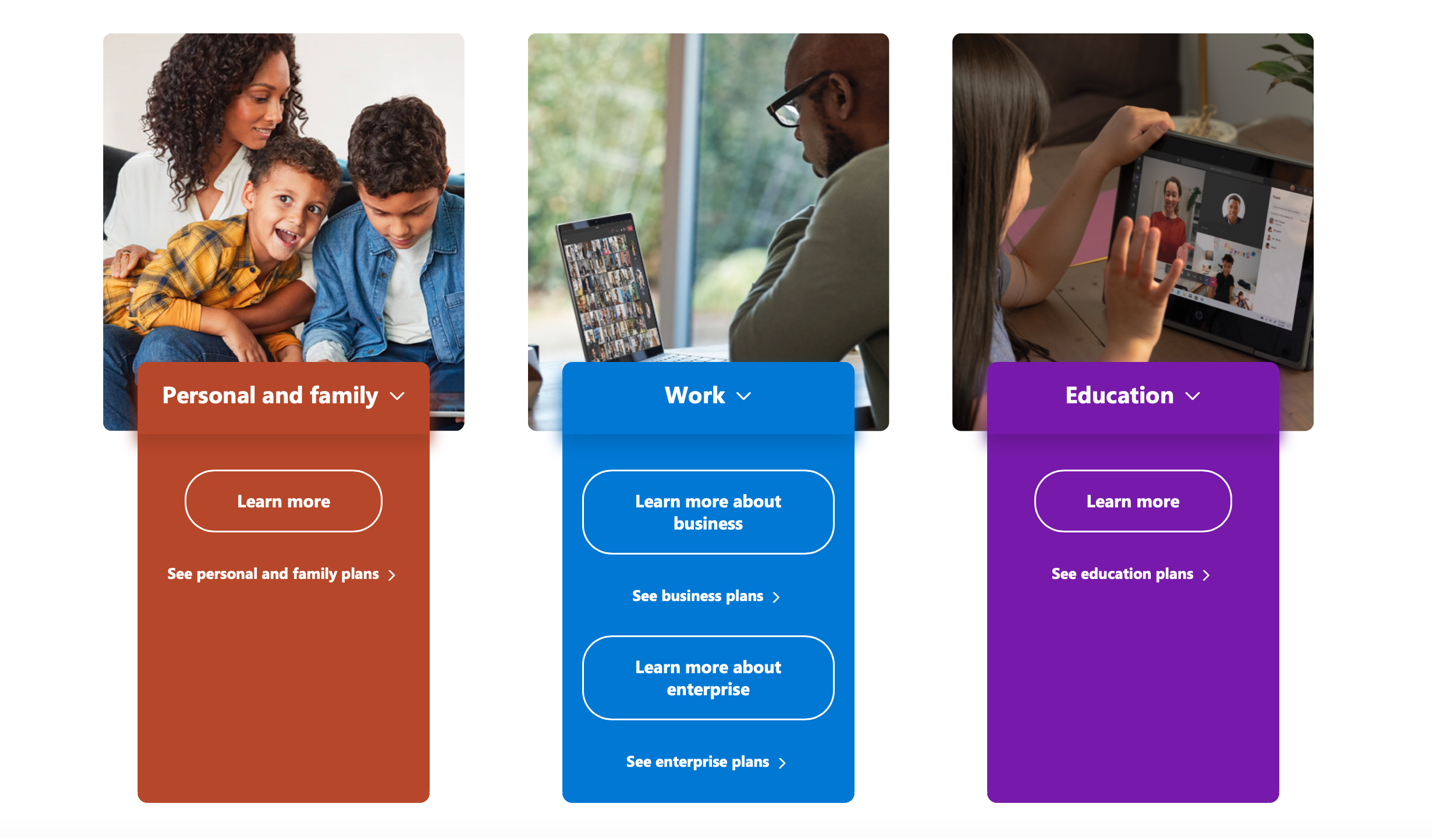 View of Microsoft Office subscription options for personal and family, work, and education subscriptions