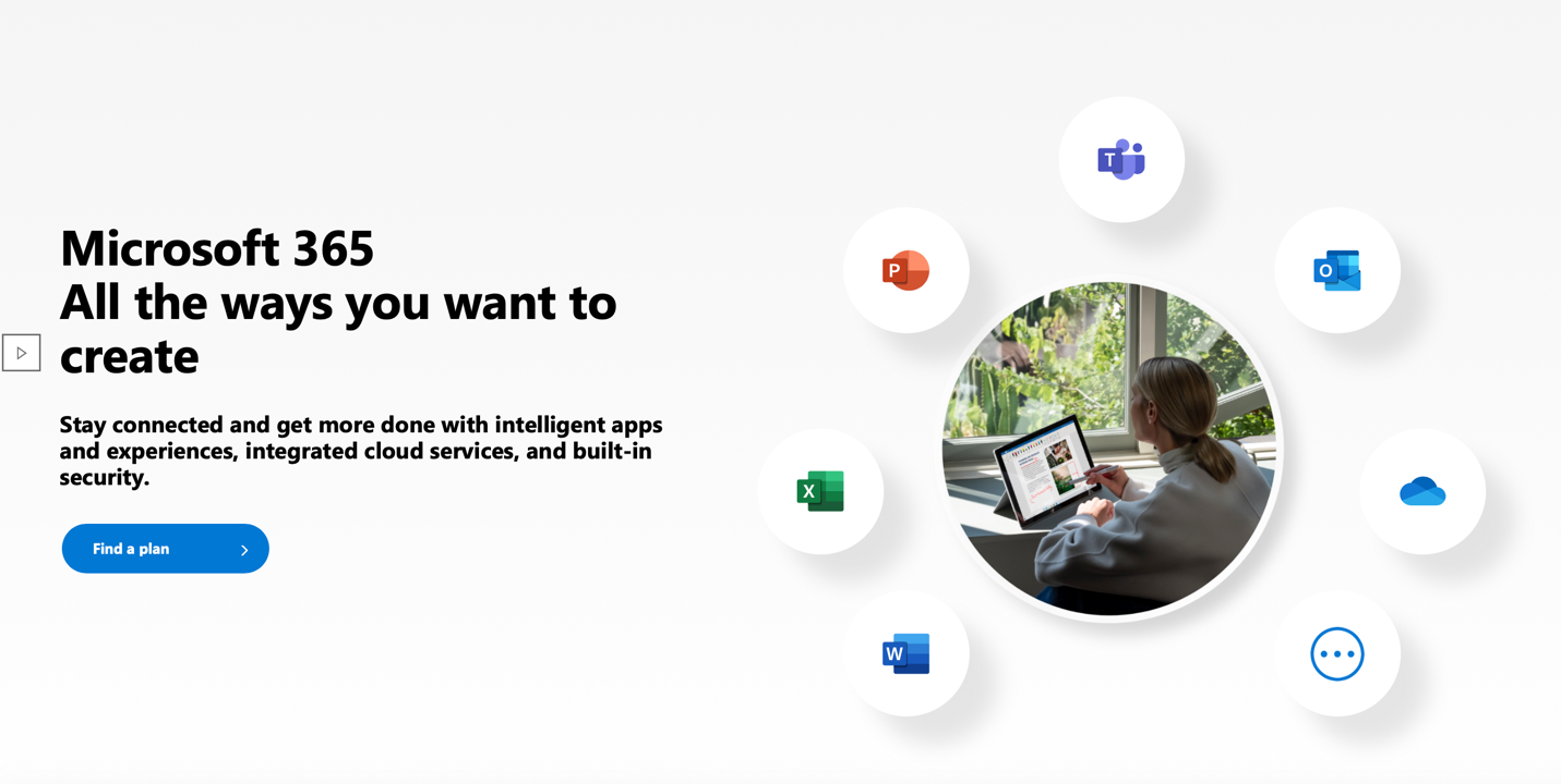 View of Microsoft Office software membership home page