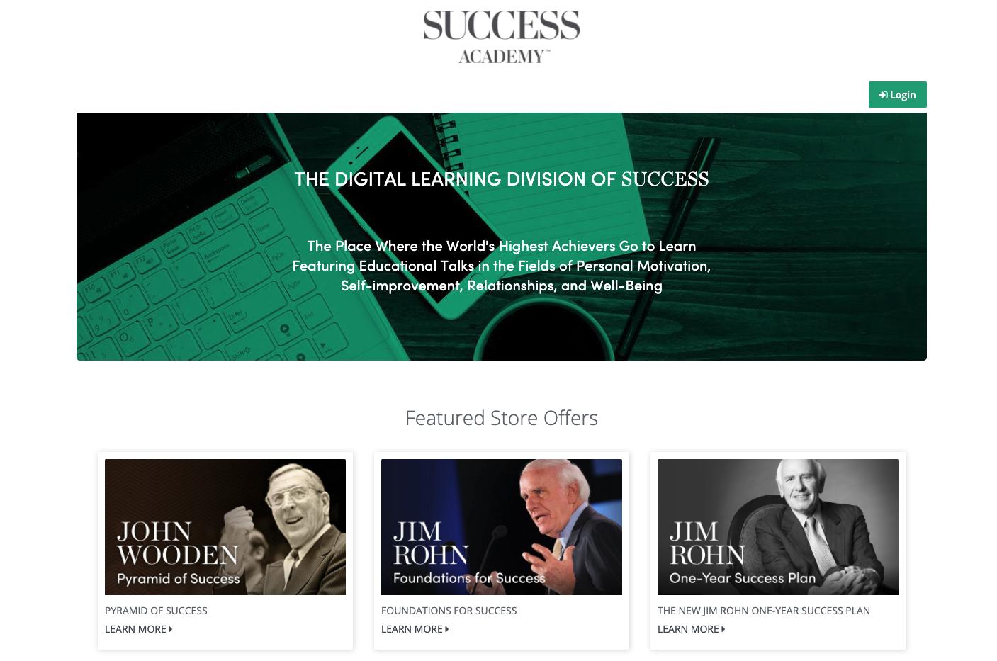 Screenshot of Success Academy website