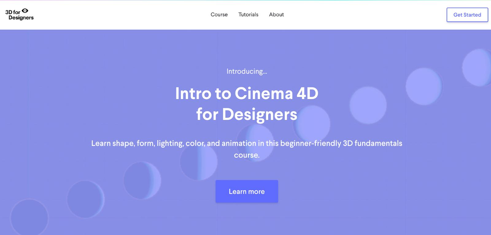 Screenshot of 3D for Designers website