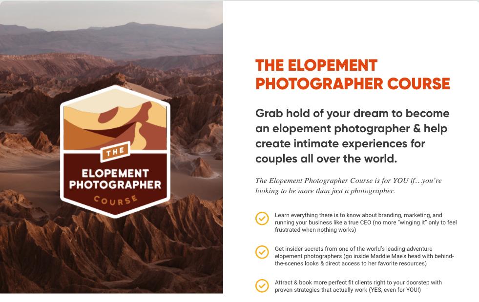 Screenshot of The Elopement Photographer Course, from the Adventure Island Academy website.