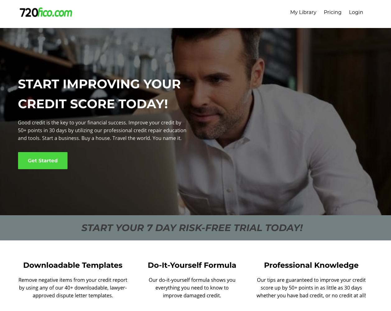 Screenshot of 720fico.com, a site aimed at helping people improve their credit score.
