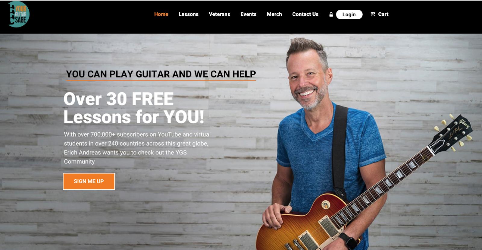 Screenshot of Your Guitar Sage website