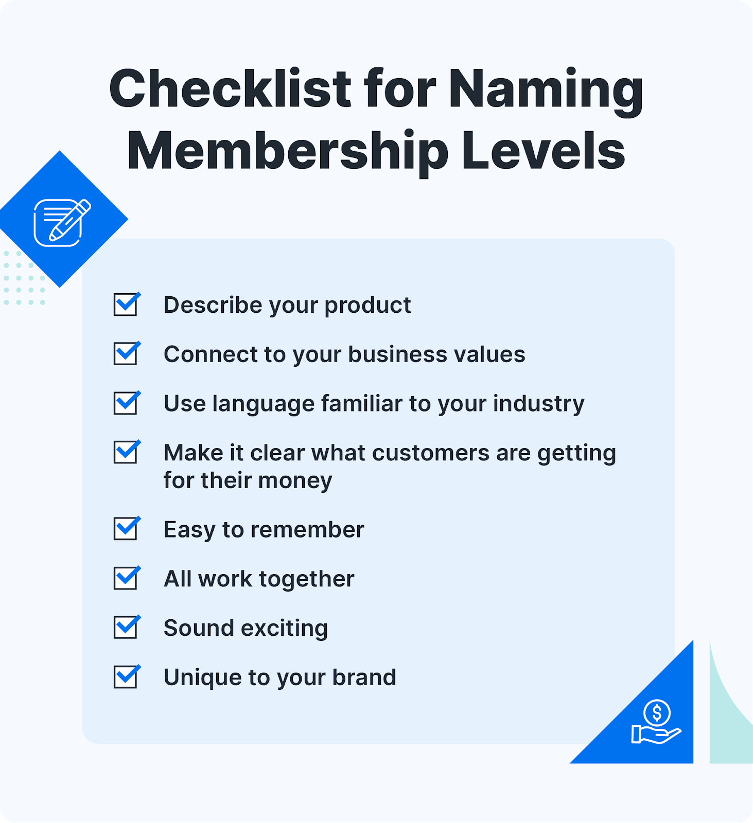 Checklist for coming up with good membership level names