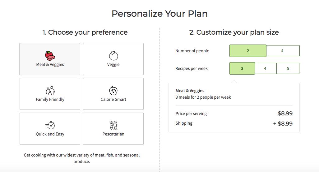 HelloFresh's plan personalization menu