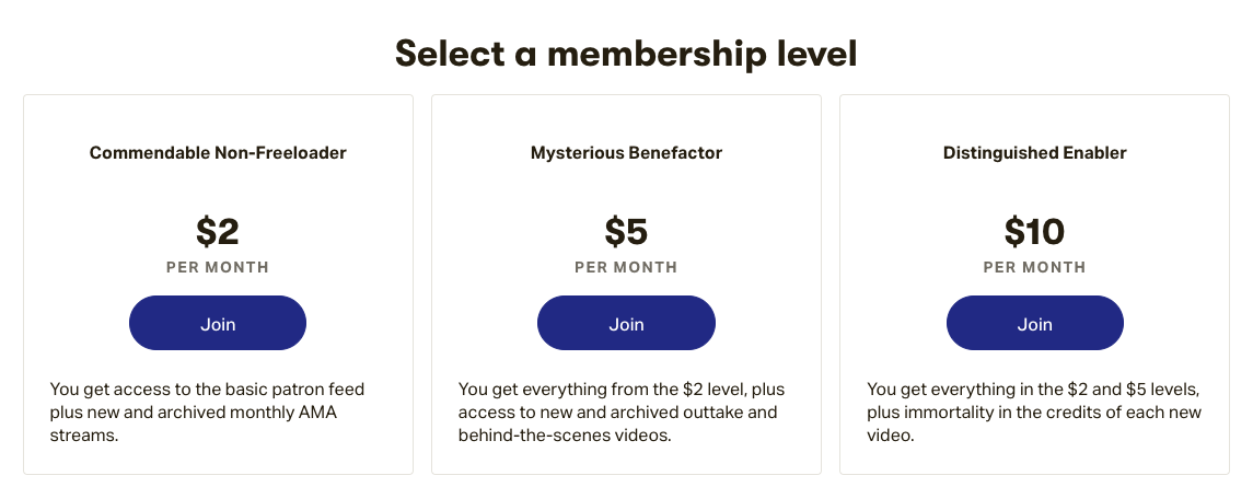 Contrapoints' membership prices on Patreon