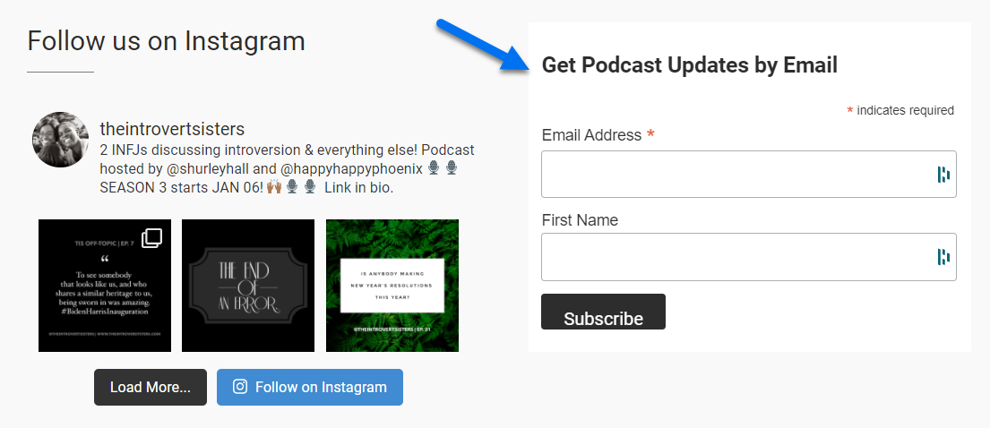 Screenshot of a promotional page promoting podcasts via email