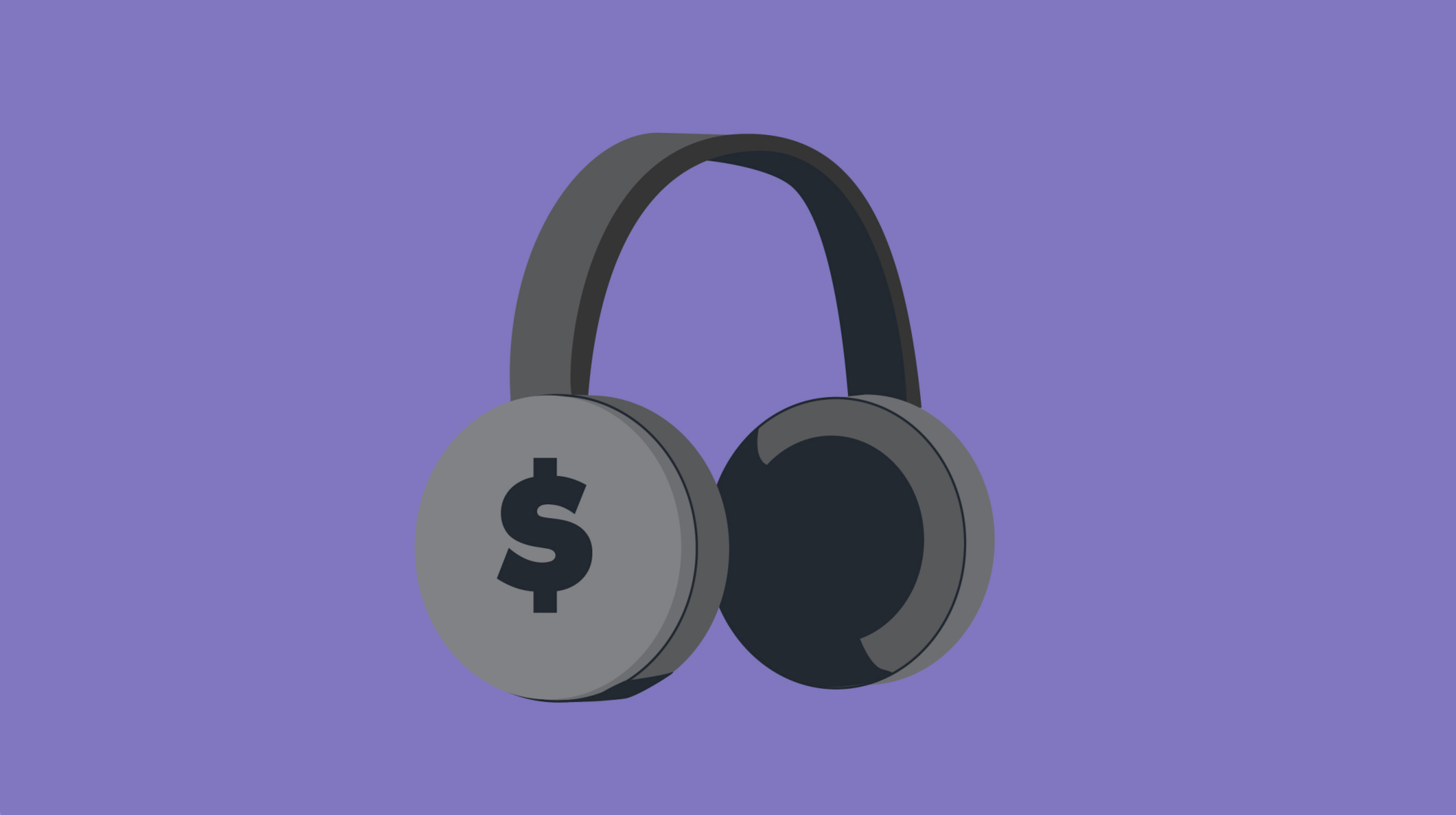 Illustration of headphones with a dollar sign on it.