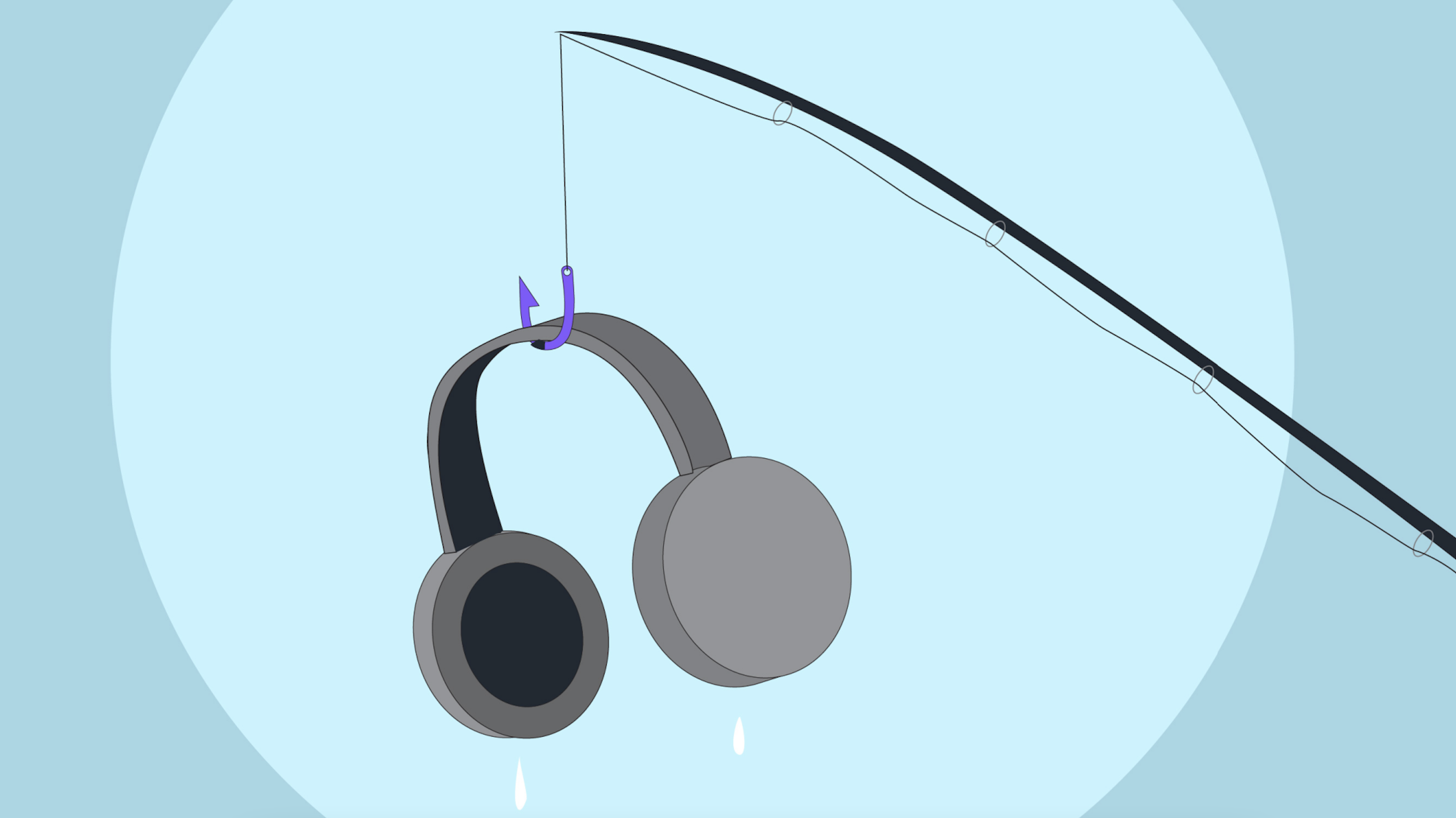 Illustration of a fishing rod catching headphones