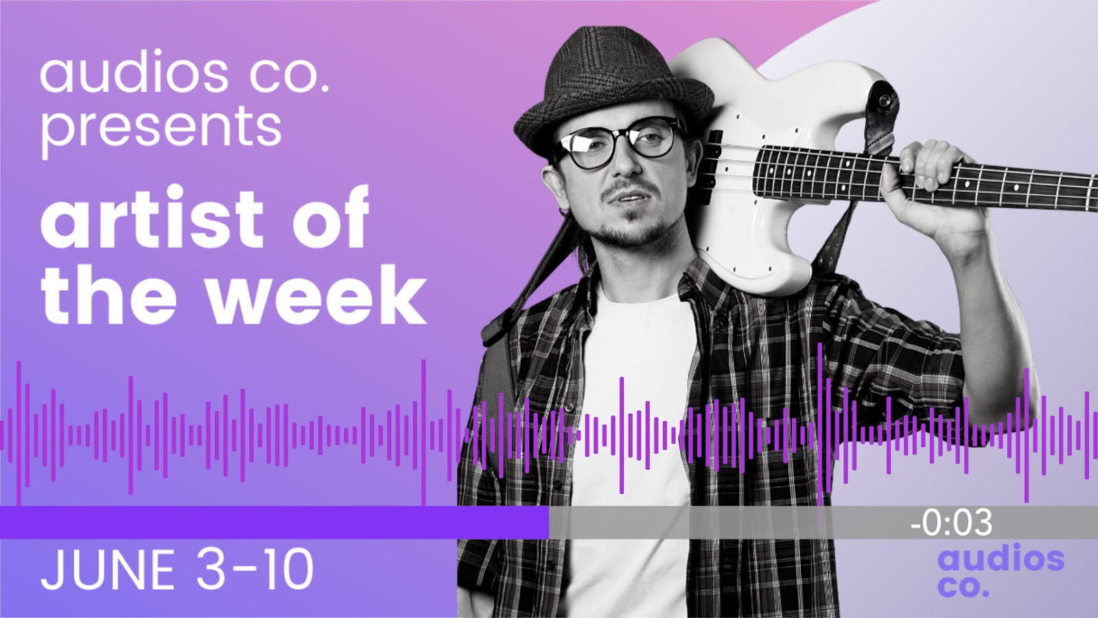 Screenshot of Audios co artist of the week.