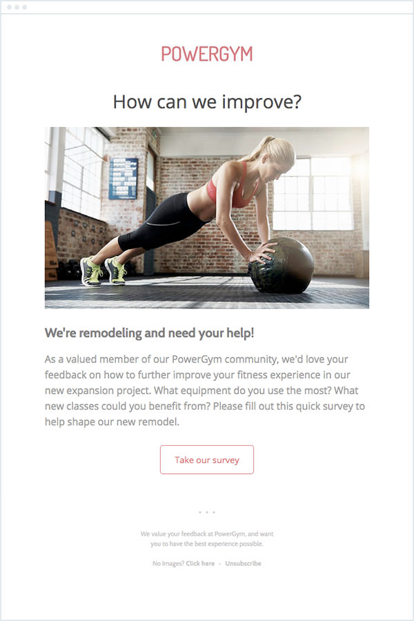 Screenshot of an email from Powergym asking for feedback