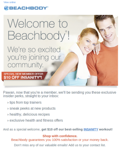 Screenshot of an email from Beachbody welcoming the recipient to the program