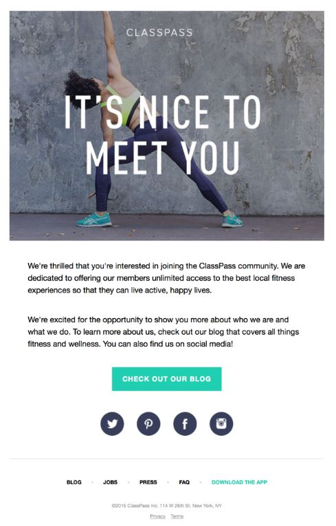 Screenshot of an email from Classpass asking the recipient to check out their blog