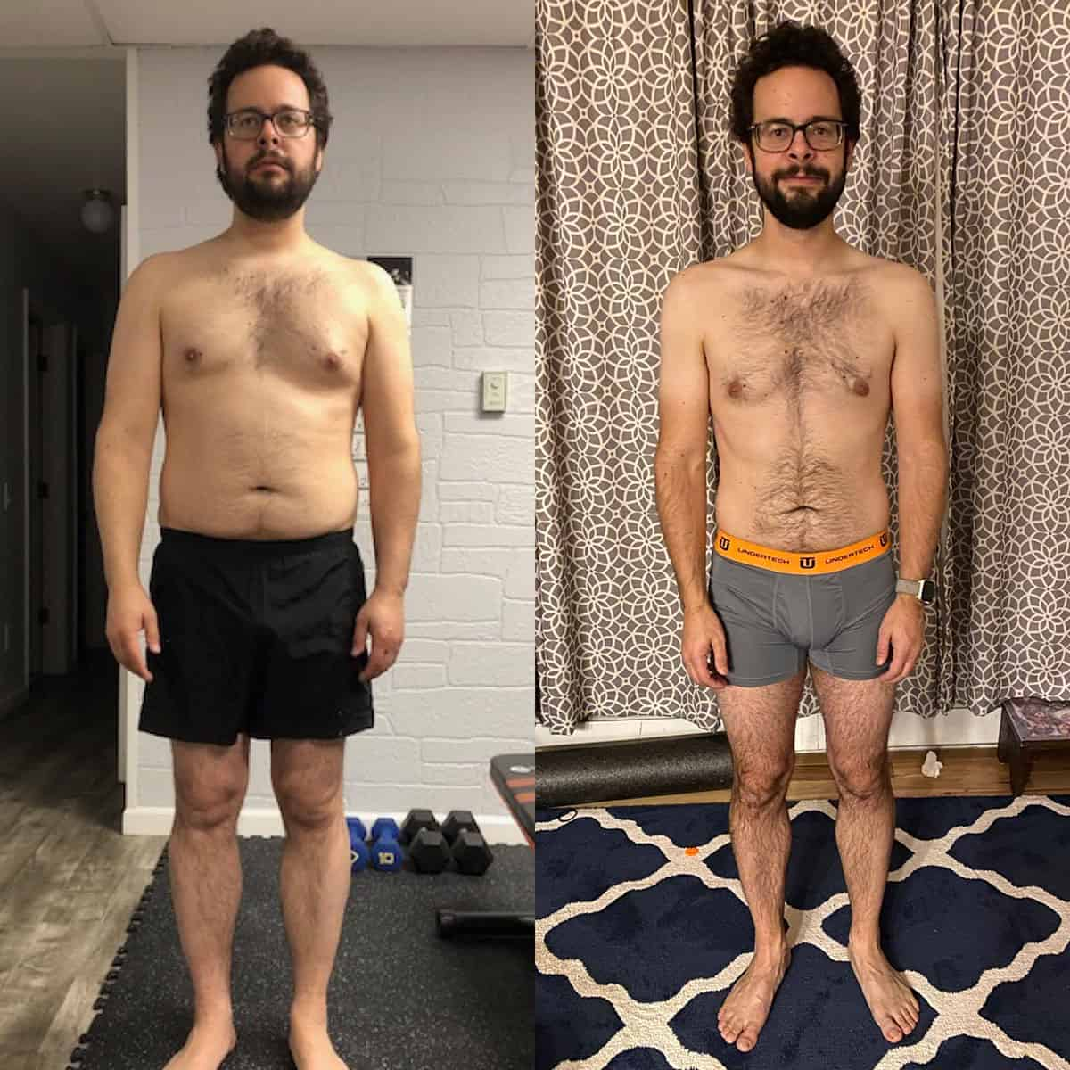 Before and after photo of a young man who has become more fit