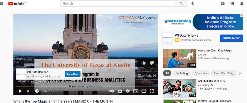 Screenshot of a skippable video ad for the University of Texas on Youtube