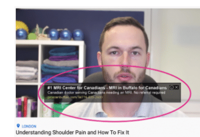 Screenshot of an overlay ad on Youtube video of man speaking