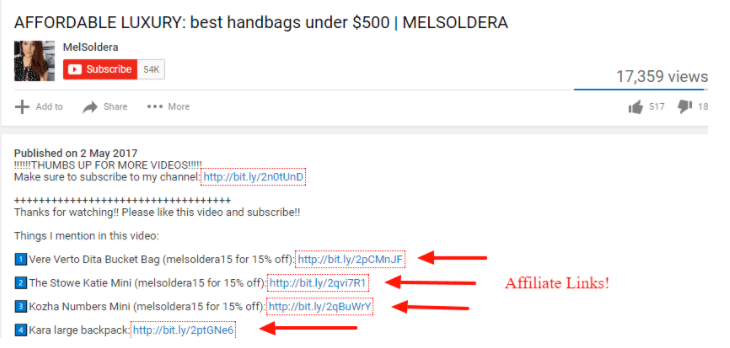 Example of affiliate links in a YouTube video description