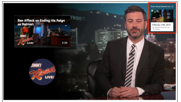Screenshot of a sponsored card ad on a YouTube video of Jimmy Kimmel
