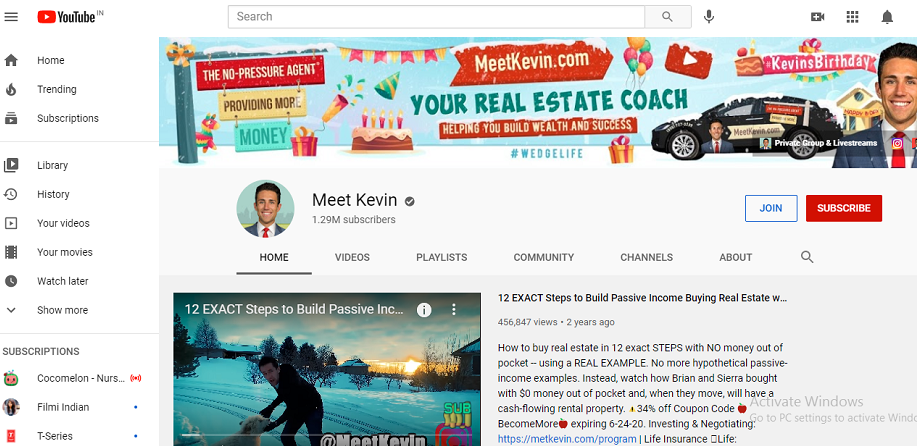 Meet Kevin's YouTube channel