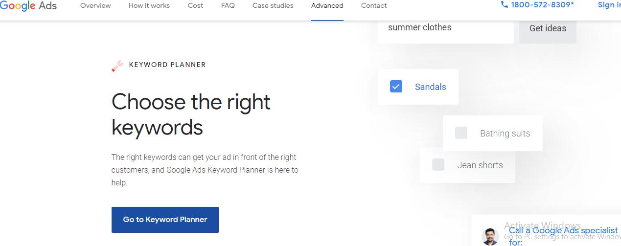 Google Ads Keyword Planner page