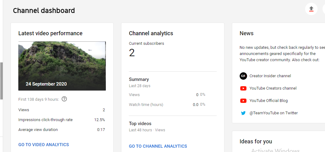 Screenshot of a YouTube channel dashboard