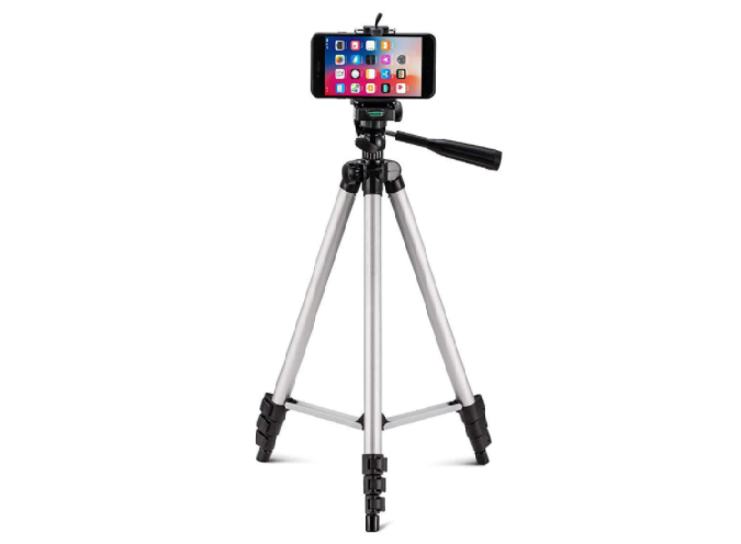 Image of a tripod holding a smart phone as a camera