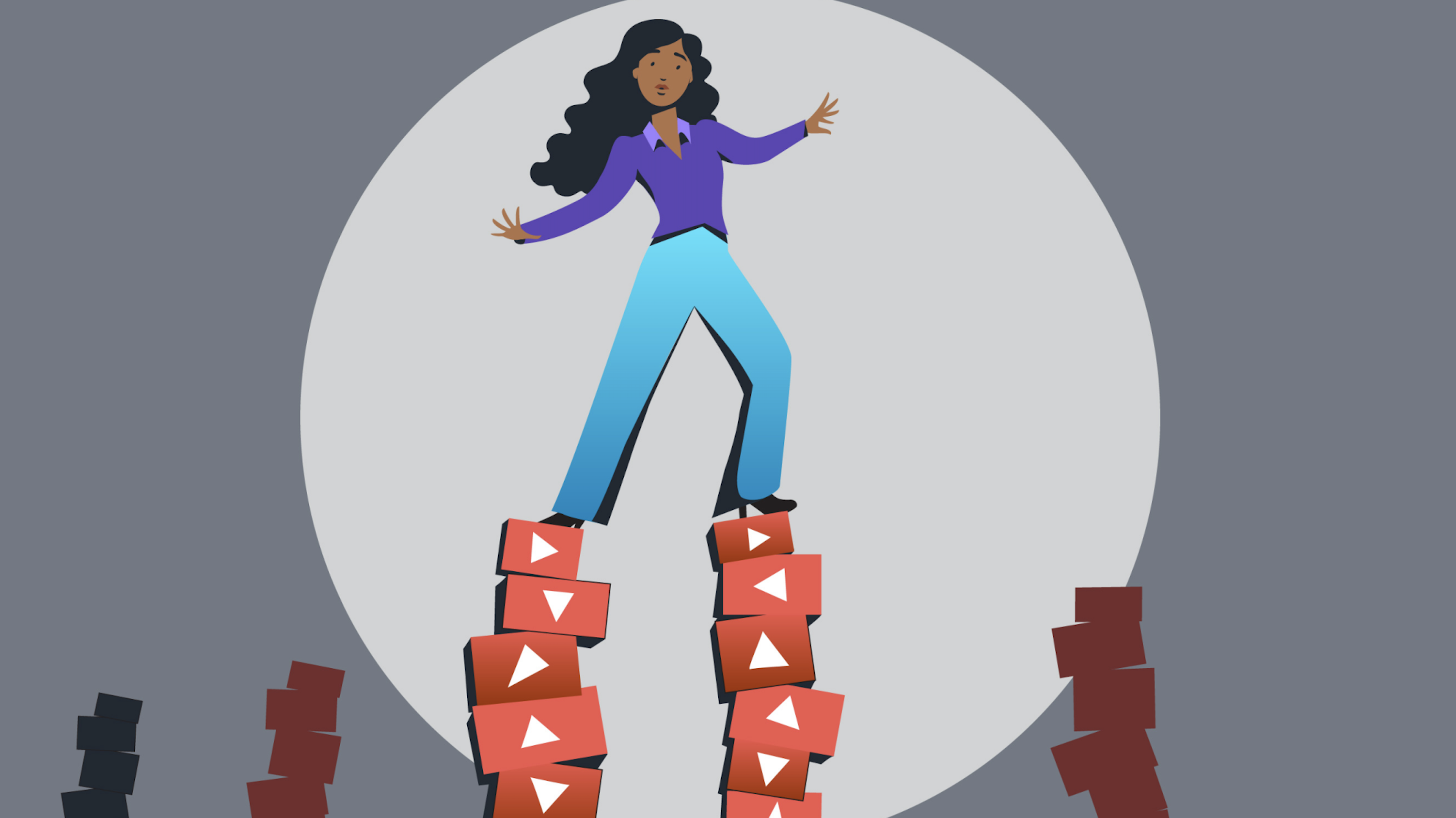 Illustration of a person teetering on blocks with the YouTube logo