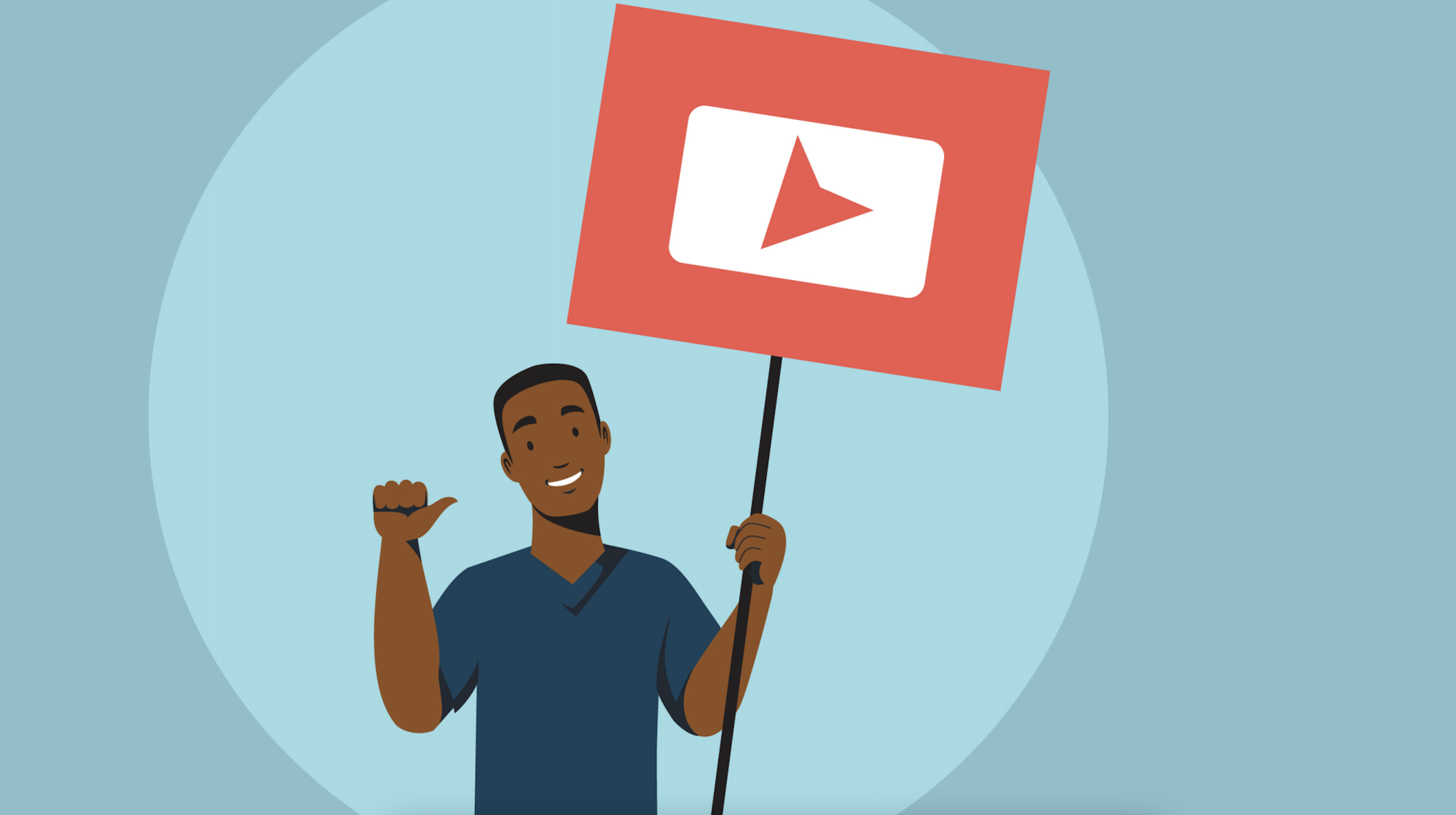 Illustration of a person holding a YouTube sign