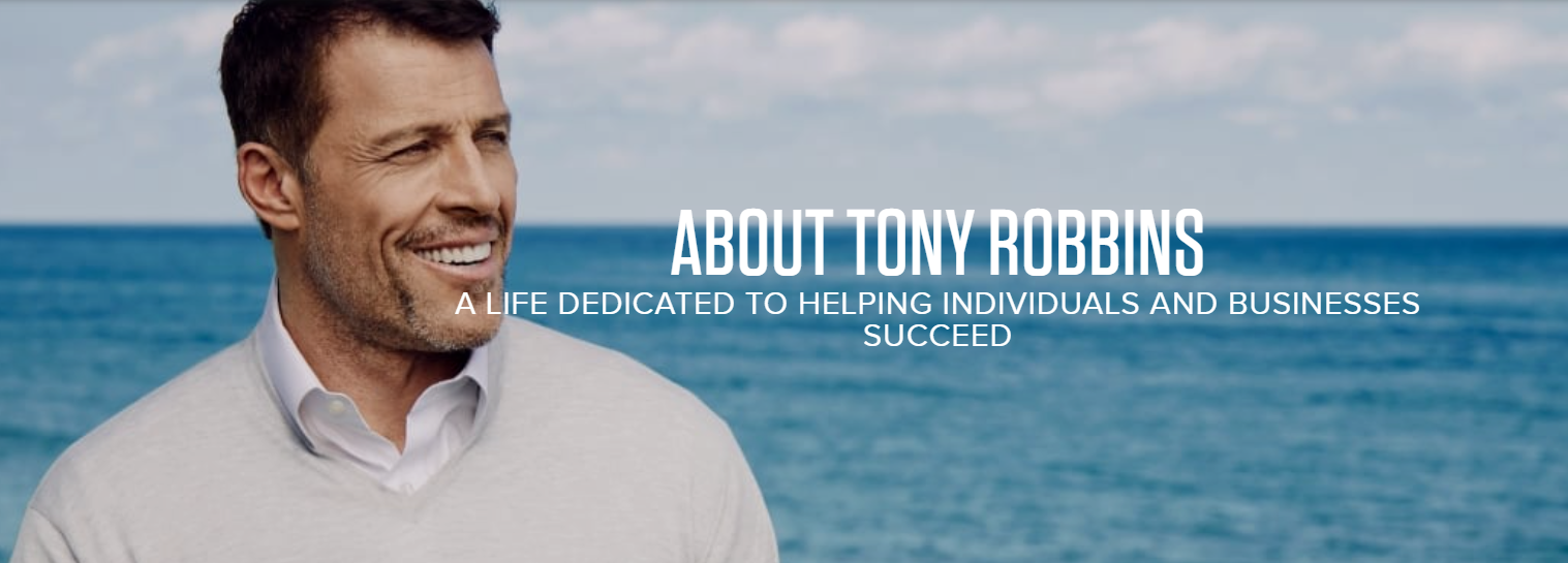 Image of life coach Tony Robbins against background of water