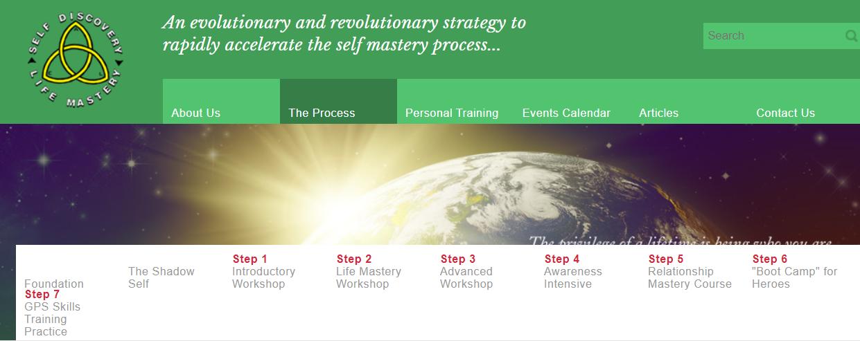 Screenshot of life coaching Self Discovery Life Mastery website