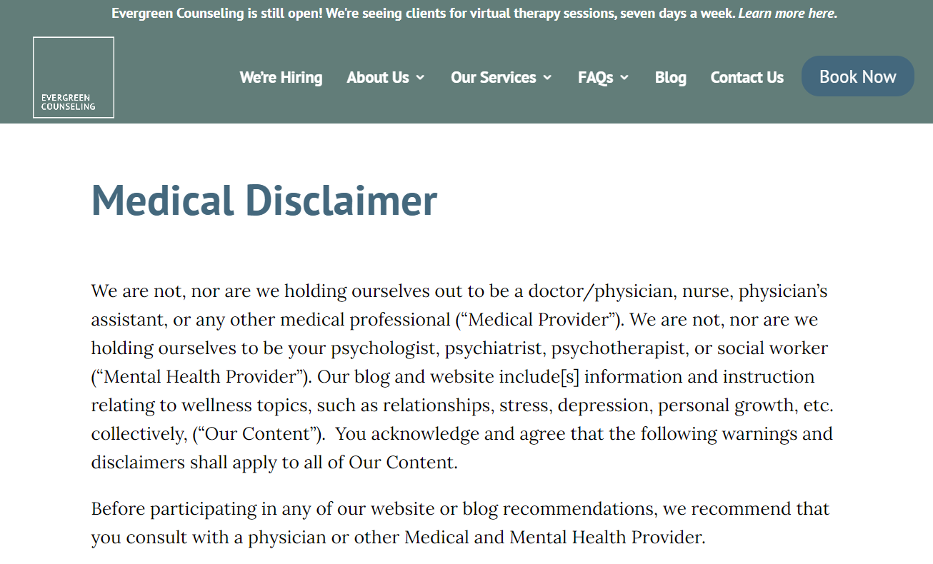 Image of Evergreen Consulting's Medical Disclaimer