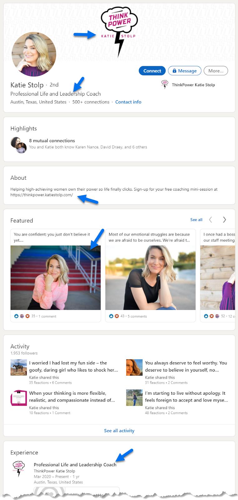 Life coach Katie Stolp's LinkedIn profile
