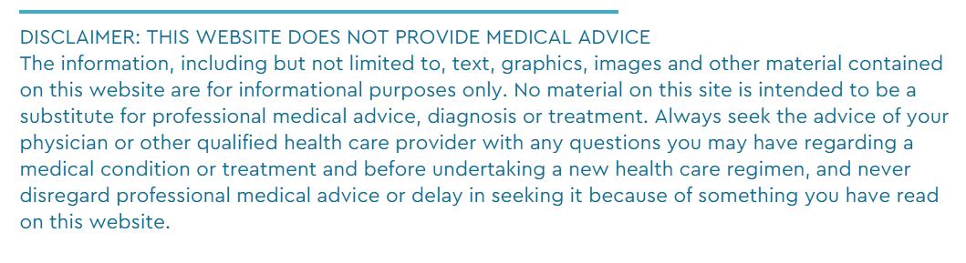 Image of a disclaimer regarding medical information
