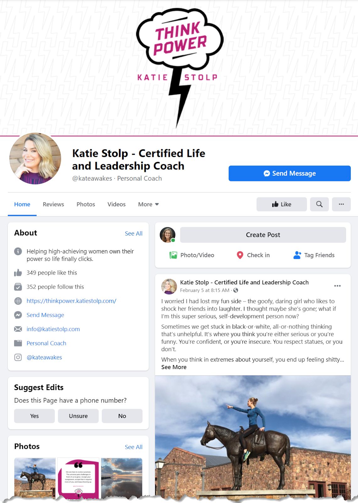 Life coach Katie Stolp's Facebook business page