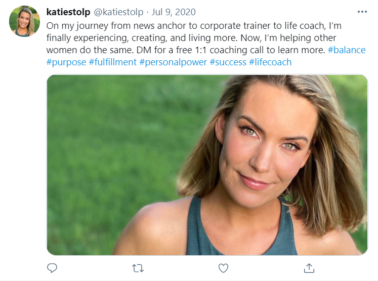 A July 9 2020 tweet from Katie Stolp promoting her life coaching business
