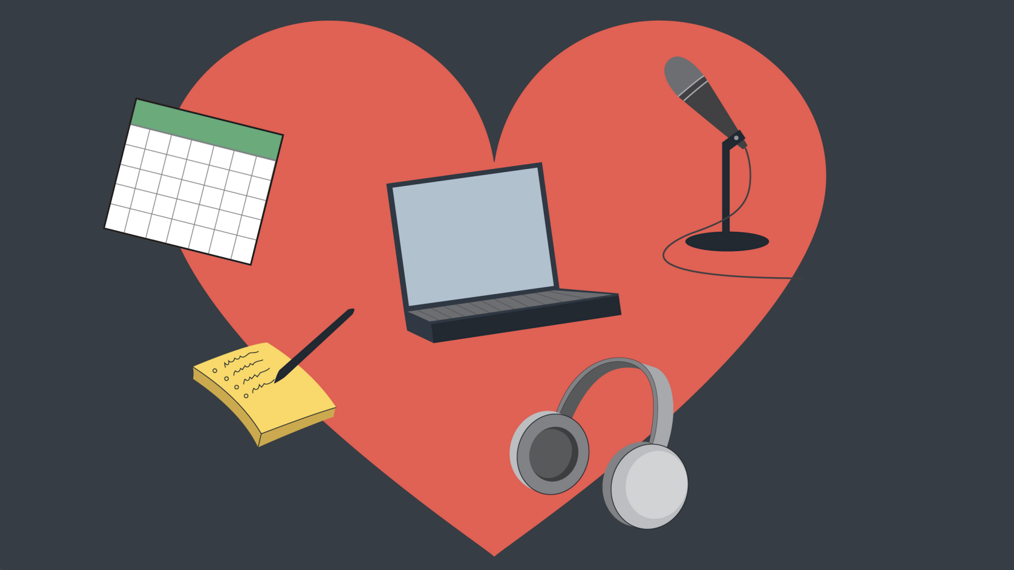 Illustration with a heart in the background that includes a computer, microphone and calendar