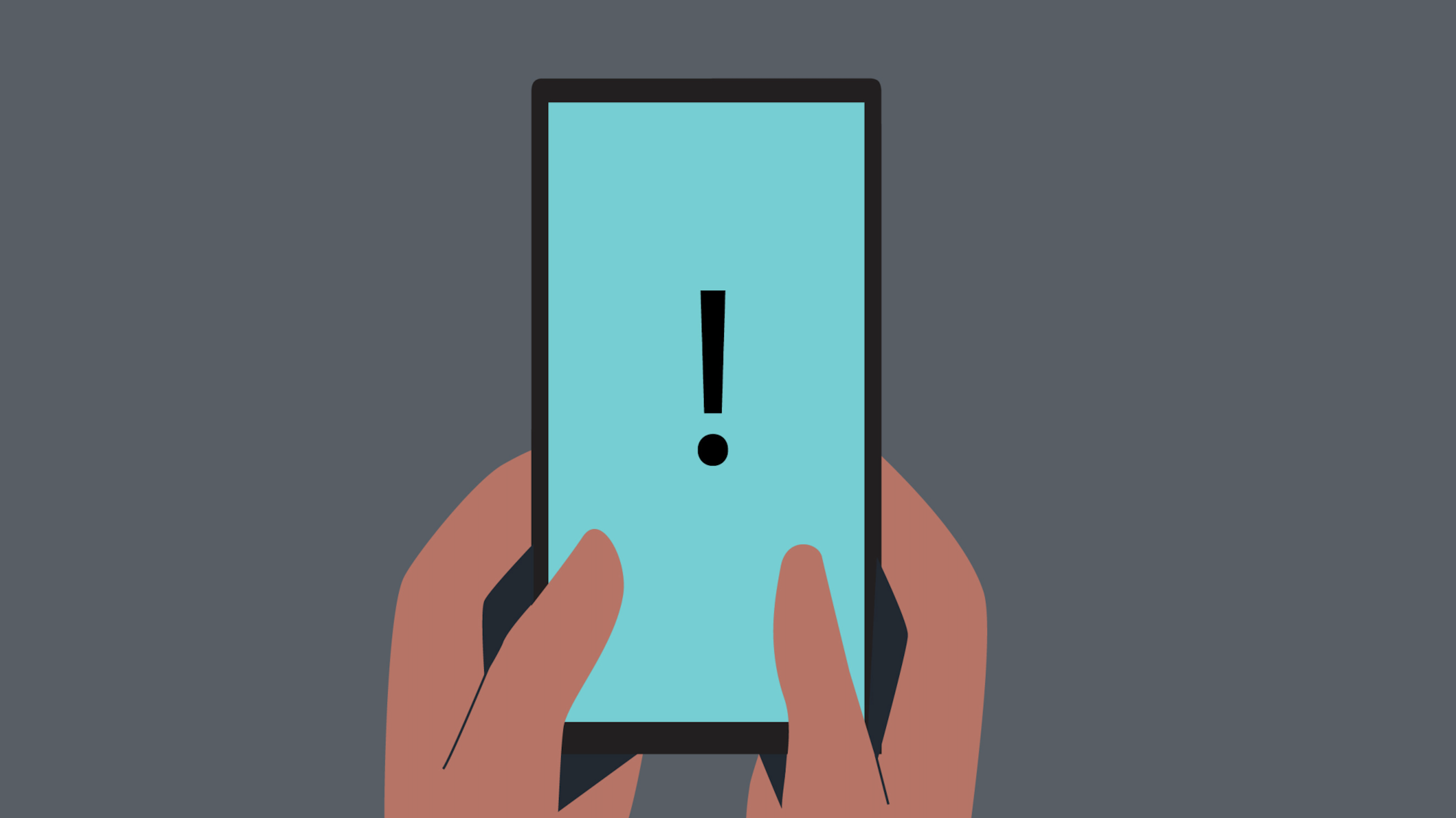 Illustration of a smartphone with an exclamation point on the screen