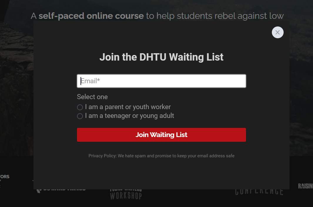 Screenshot of the email waiting list form for Do Hard Things University
