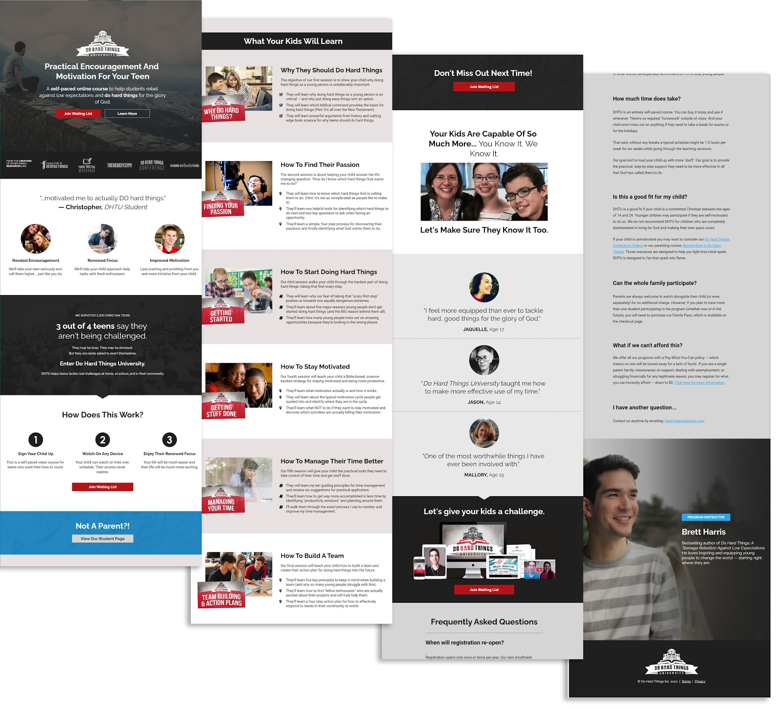 Examples of long-form sales pages from Do Hard Things University